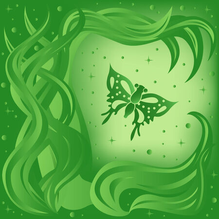 phantasmagoric: Phantasmagoric composition with butterfly and plants on starry sky background, hand drawing vector illustration in green tints Illustration