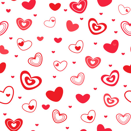 dispersed: Seamless vector pattern with different red Valentine hearts on the white background