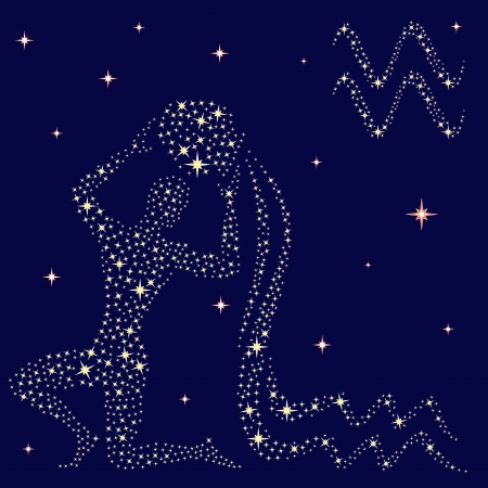 ewer: Zodiac sign Aquarius on a background of the starry sky, vector illustration