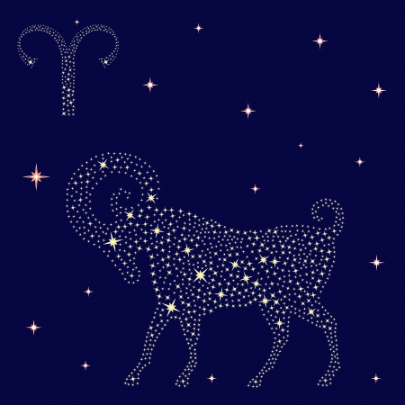 Zodiac sign Aries on a background of the starry sky, vector illustration Reklamní fotografie - 25253024