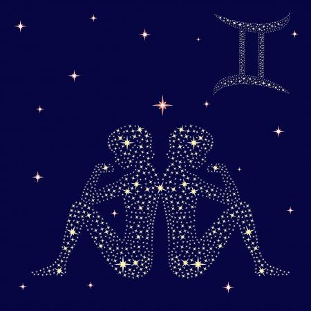 조디악 별이 빛나는 하늘, 벡터 일러스트 레이 션의 배경에 쌍둥이 서명