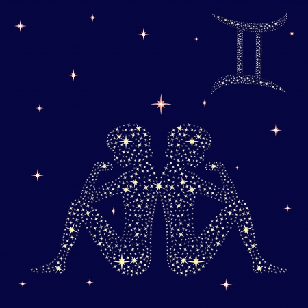 Zodiac sign Gemini on a background of the starry sky, vector illustration