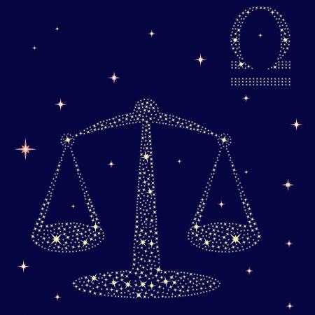 oscillate: Zodiac sign Libra on a background of the starry sky, vector illustration Illustration