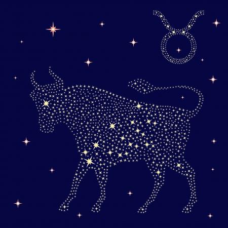 ベクター グラフィックは、星空の背景の星座おうし座