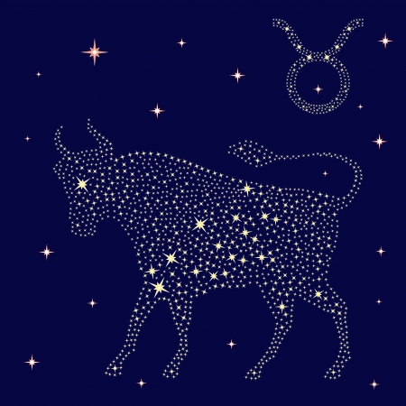 Zodiac sign Taurus on a background of the starry sky, vector illustration