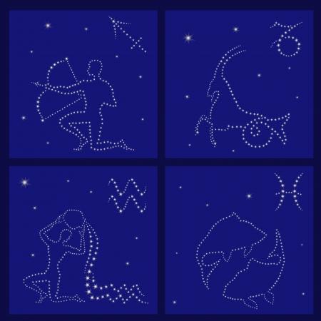 asterism: Four Zodiac signs on the starry sky vector illustration: Sagittarius, Capricorn, Aquarius, Pisces