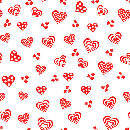 dispersed: Seamless vector pattern with various red and white Valentine hearts on the white background
