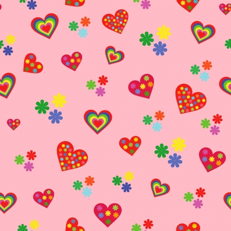 dispersed: Seamless vector pattern with various colorful Valentine hearts on the pink background