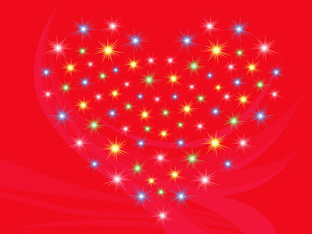 dispersed: Heart with stars on bright red abstract background, hand drawing Valentine vector illustration