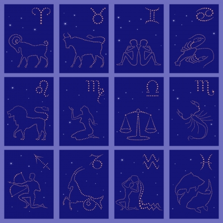 Set of twelve starry silhouettes of Zodiac signs vector illustration: Aries, Taurus, Gemini, Cancer, Leo, Virgo, Libra, Scorpio, Sagittarius, Capricorn, Aquarius, Pisces Vector