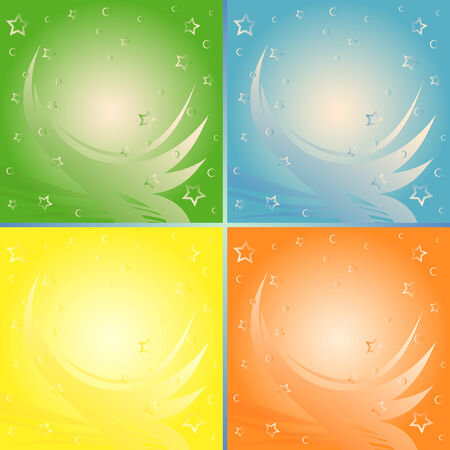 alight: Four identical abstract backgrounds in different colors, vector illustration