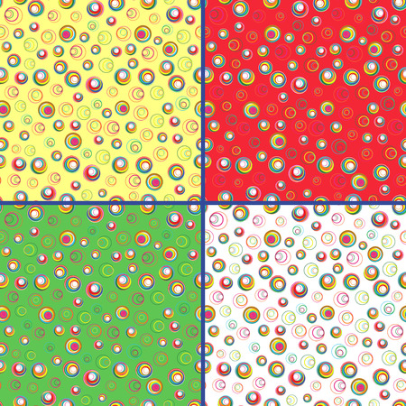 Four identical seamless vector patterns with different colorful circles
