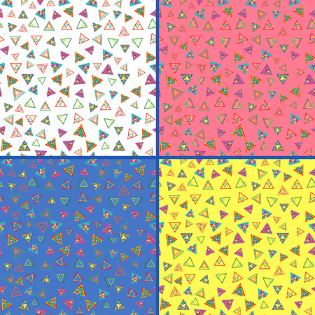 Four identical seamless vector patterns with different colorful triangles Vector