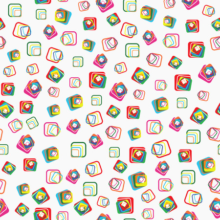 dispersed: Seamless vector pattern with different colorful squares with rounded corners on light grey background