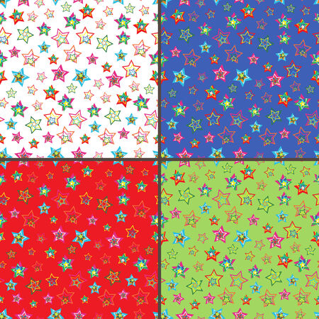 dispersed: Four identical seamless vector patterns with different colorful stars  Illustration