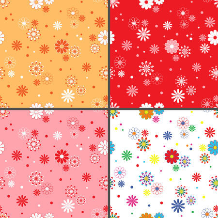 dispersed: Four identical seamless vector patterns with different colorful chamomile flowers as wallpapers