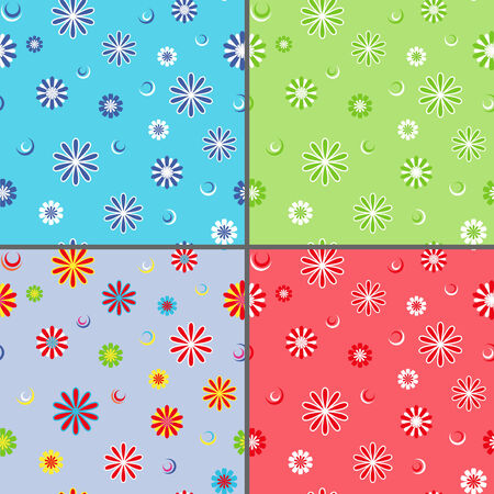 dispersed: Four identical seamless vector patterns with different colorful daisy flowers as wallpapers Illustration