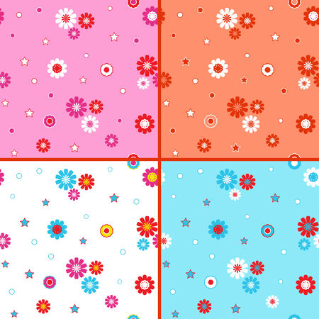 jointless: Four identical seamless vector patterns with different colorful daisies as wallpapers