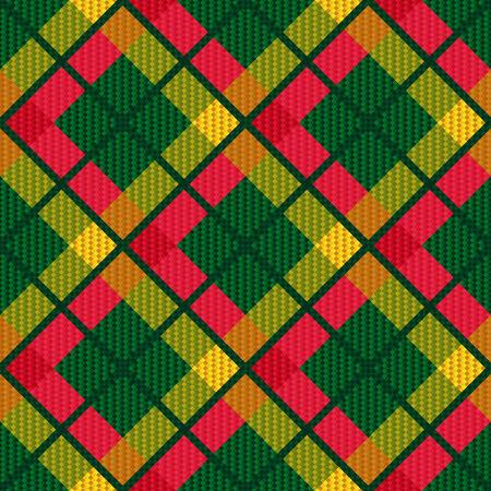 scot: Diagonal seamless checkered shades of green, pink and yellow vector pattern as a tartan plaid Illustration