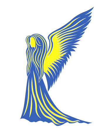portent: Female angel in yellow and blue, these colors symbolize the Ukraine  Hand drawing vector illustration