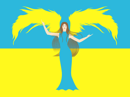 portent: Female angel in yellow and blue against the background of blue and yellow flag of Ukraine  Hand drawing vector illustration