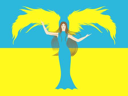 marvel: Weibliche Engel in gelb und blau vor dem Hintergrund der blaue und gelbe Flagge der Ukraine Handzeichnung Vektor-Illustration