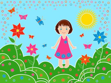 Kleine kinderen meisje op de weilanden in het zonnige zomerdag, veelkleurig hand tekening vector illustratie