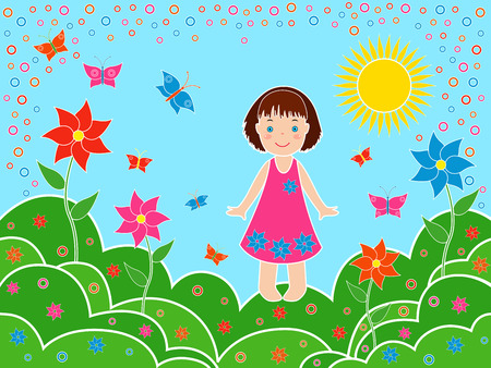 Small children girl on the meadows in sunny summer day, multicolor hand drawing vector illustration Vector