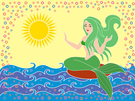 phantasmagoric: Mermaid as a mythical girl on the sea waves in the warm season, hand drawing vector illustration