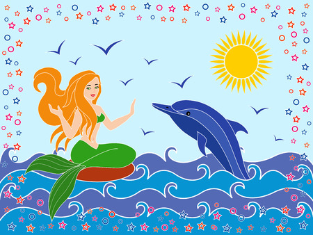 phantasmagoric: Dolphin and Mermaid as a mythical girl on the sea waves in the warm season, hand drawing vector illustration