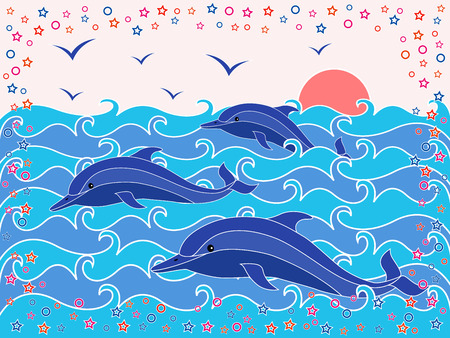 phantasmagoric: Three Dolphins in the sea waves at sunrise, hand drawing vector illustration