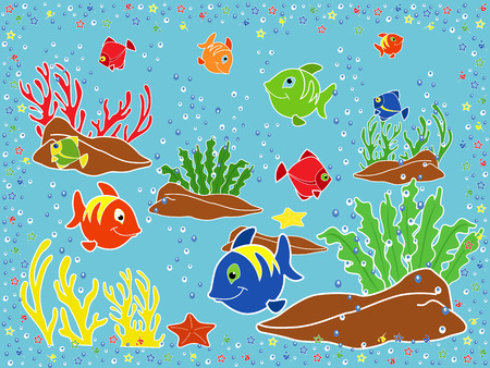 phantasmagoric: Underwater marine life  Fishes, coral, starfish and seaweed on the seabed  Hand drawing vector illustration Illustration