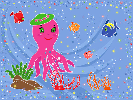 phantasmagoric: Underwater marine life  Funny Octopus, fishes, coral and seaweed on the seabed  Hand drawing vector illustration