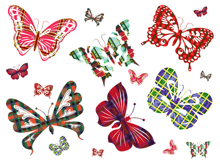 six objects: Six different large butterflies with Celtic ornaments and several of their smaller versions on a white background  Hand drawing vector illustration Illustration
