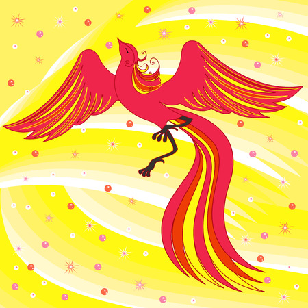 Beautiful graceful red firebird on abstract background with yellow shades  Hand drawing vector illustration Vector