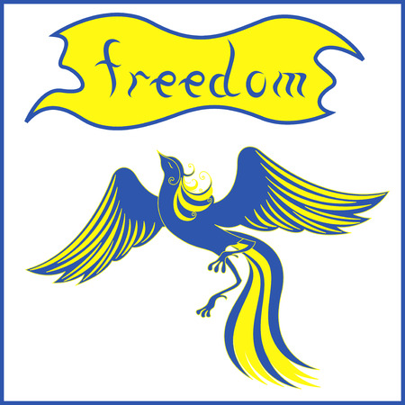 Graceful bird Phoenix that symbolizing a freedom in blue and yellow national flag colors of Ukraine  Hand drawing vector illustration Stock Illustratie