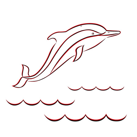 phantasmagoric: Red and black contour of a dolphin in the sea waves  Hand drawing vector illustration