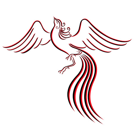 Black and red graceful Firebird contour isolated over white. Hand drawing vector illustration