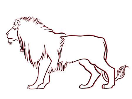 lion dessin: Gracieux contour de Lion noir et rouge isolé sur blanc Main vecteur de dessin illustration Illustration
