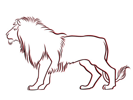 Black and red graceful Lion contour isolated over white  Hand drawing vector illustration