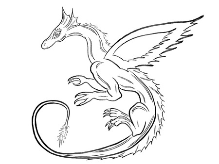 Black dragon during the flight isolated on white background  Hand drawing vector illustration Vector