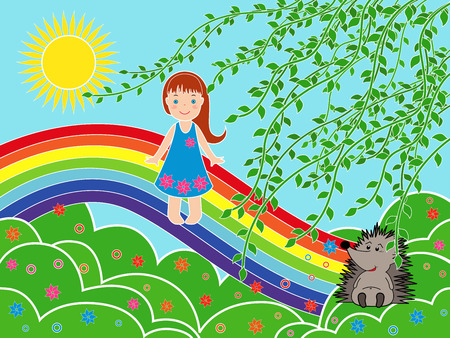 Small children girl on the rainbow in sunny summer day, multicolor vector illustration Vector