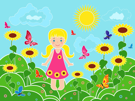 Small children girl on the field among sunflowers in sunny summer day, multicolor vector illustration Illustration