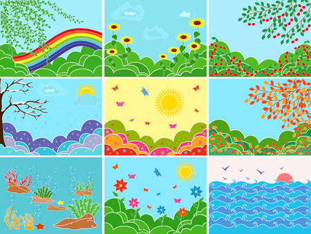 Set of nine different pictures depicting various locations and seasons; multicolor vector illustrations Vector