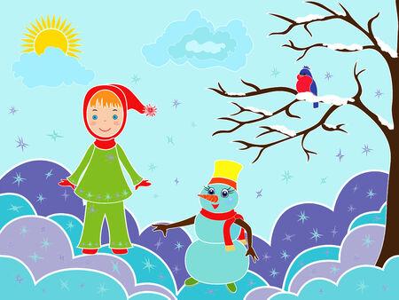 snowdrifts: Piccola ragazza con pupazzo di neve tra i cumuli di neve, illustrazione vettoriale multicolor Vettoriali