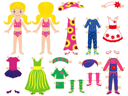 Paper doll and clothes set for her with technological clips dressing