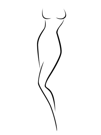 Abstract female body contour, black over white hand drawing vector artwork Vector