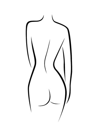 Abstract female back contour, black over white hand drawing vector artwork Vector