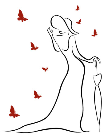 womanish: Lady in long gown and wearing a hat with an umbrella and butterflies around her, contour vector Illustration