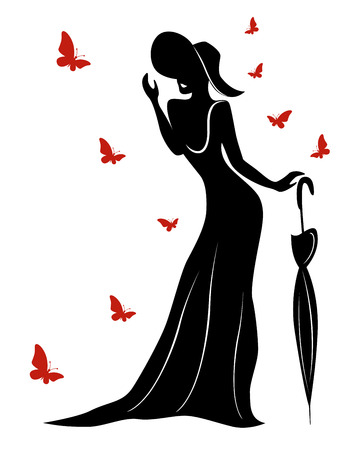 Lady in long gown and wearing a hat with an umbrella and butterflies around her, contour vector Illustration